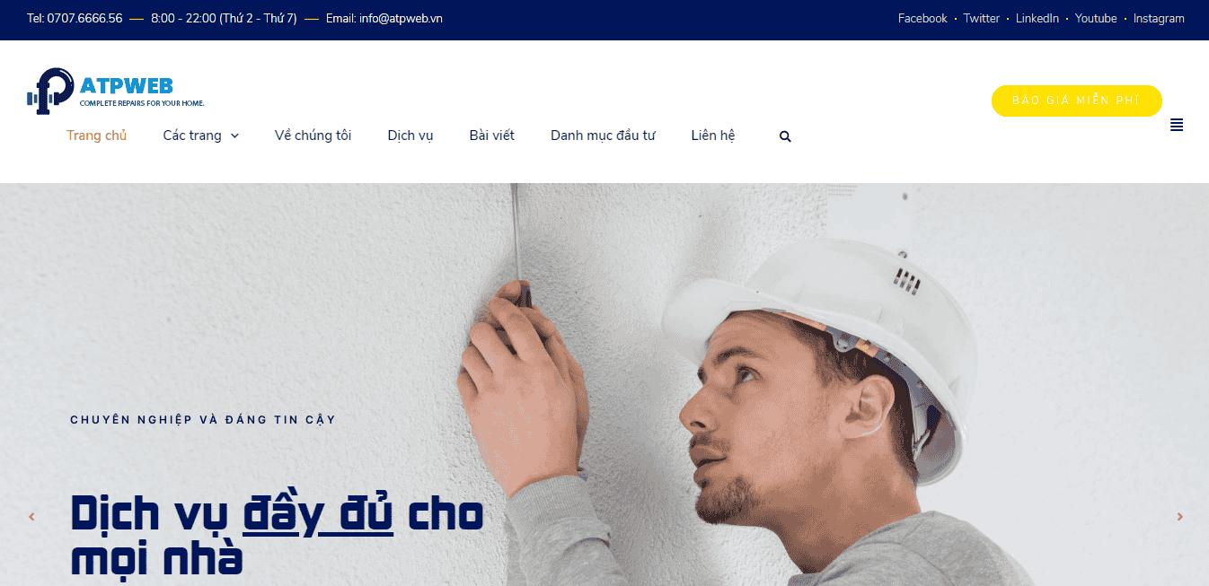 Giao diện Website Dịch vụ sửa chữa điện nước