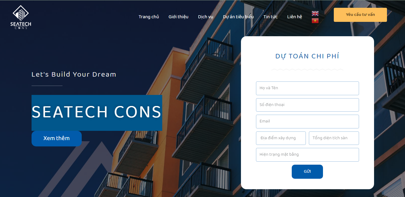 Giao diện Website Xây dựng