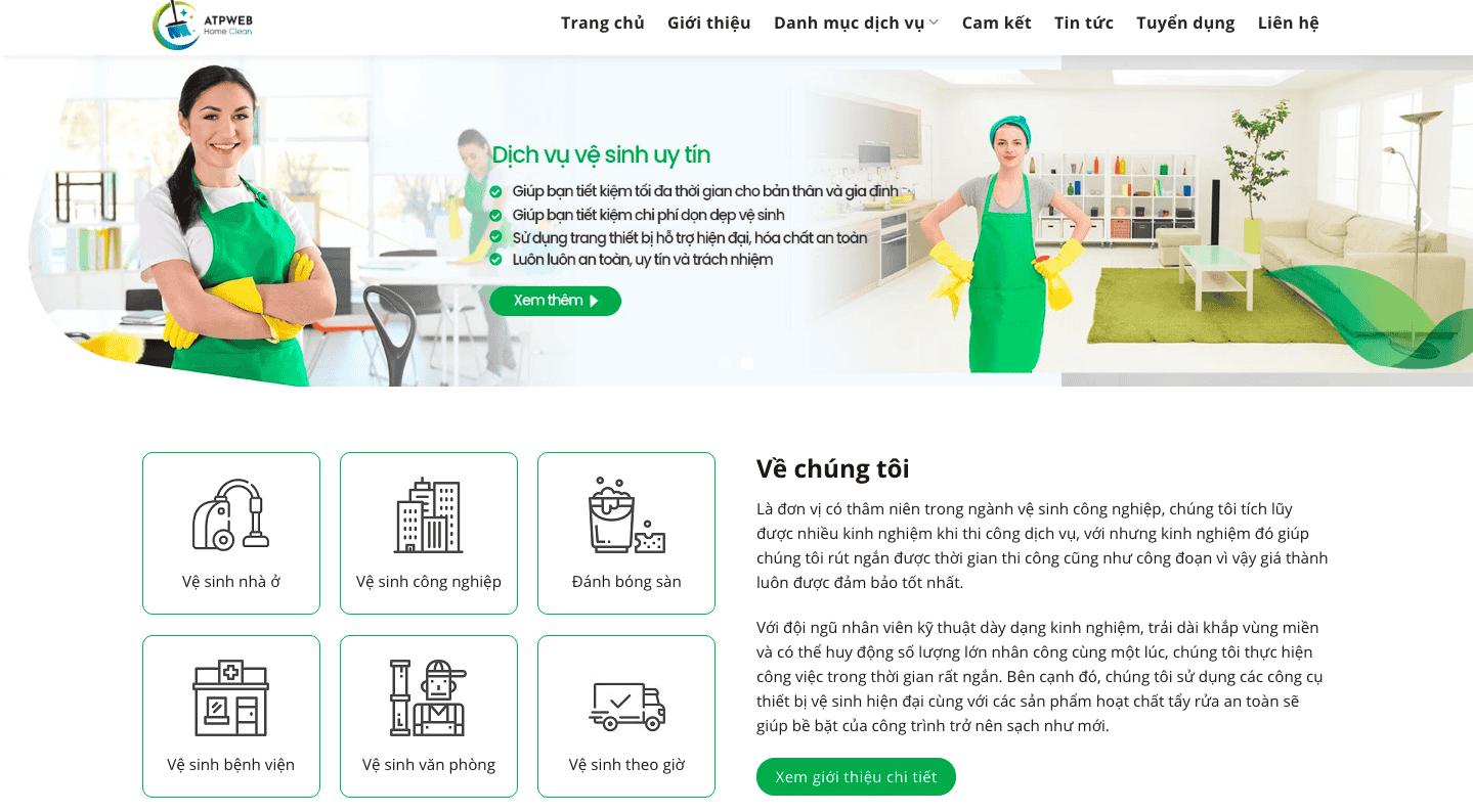 Giao diện website vệ sinh công nghiệp theo mẫu TAPVU247