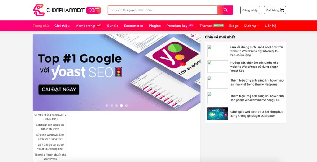 Giao diên website tài nguyên theo mẫu Chonphanmem