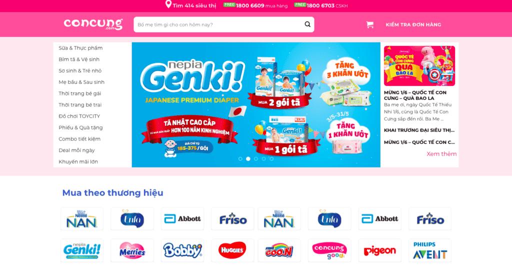 Giao diện website Mẹ & Bé theo mẫu Concung