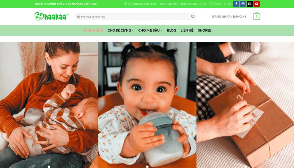 Giao diện website mẹ & bé theo mẫu Haakaa