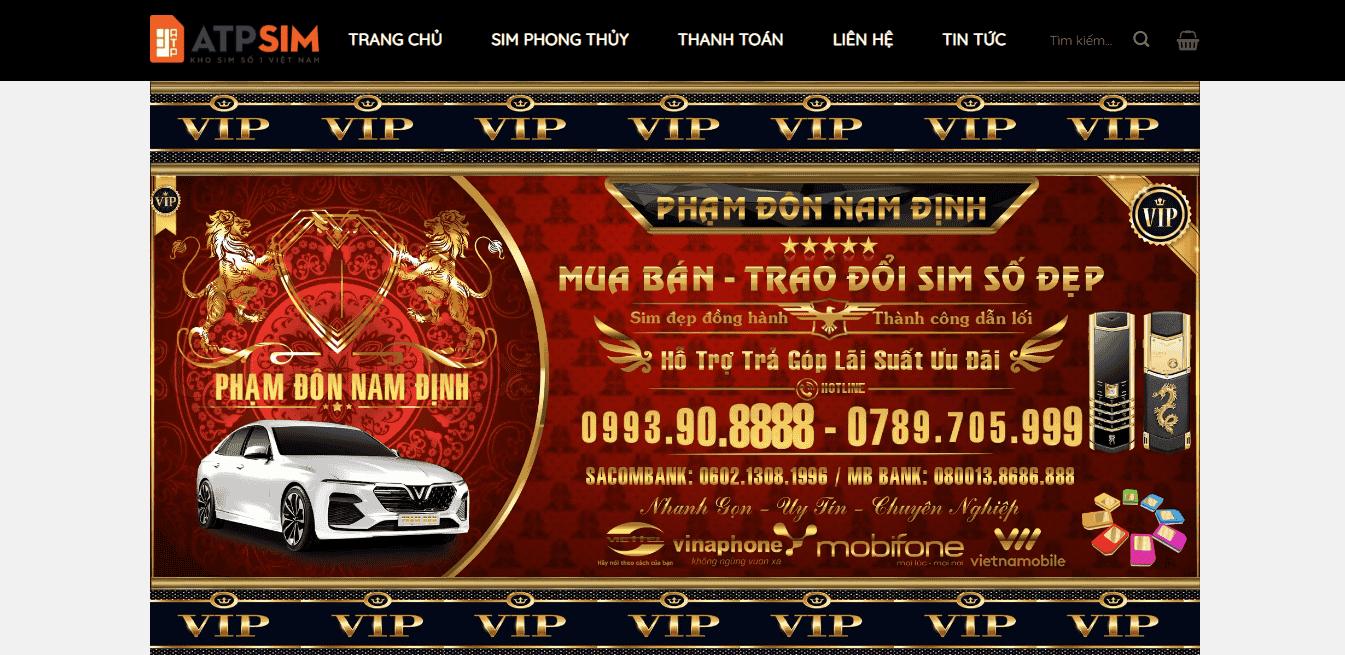 Giao diện Website Sim số