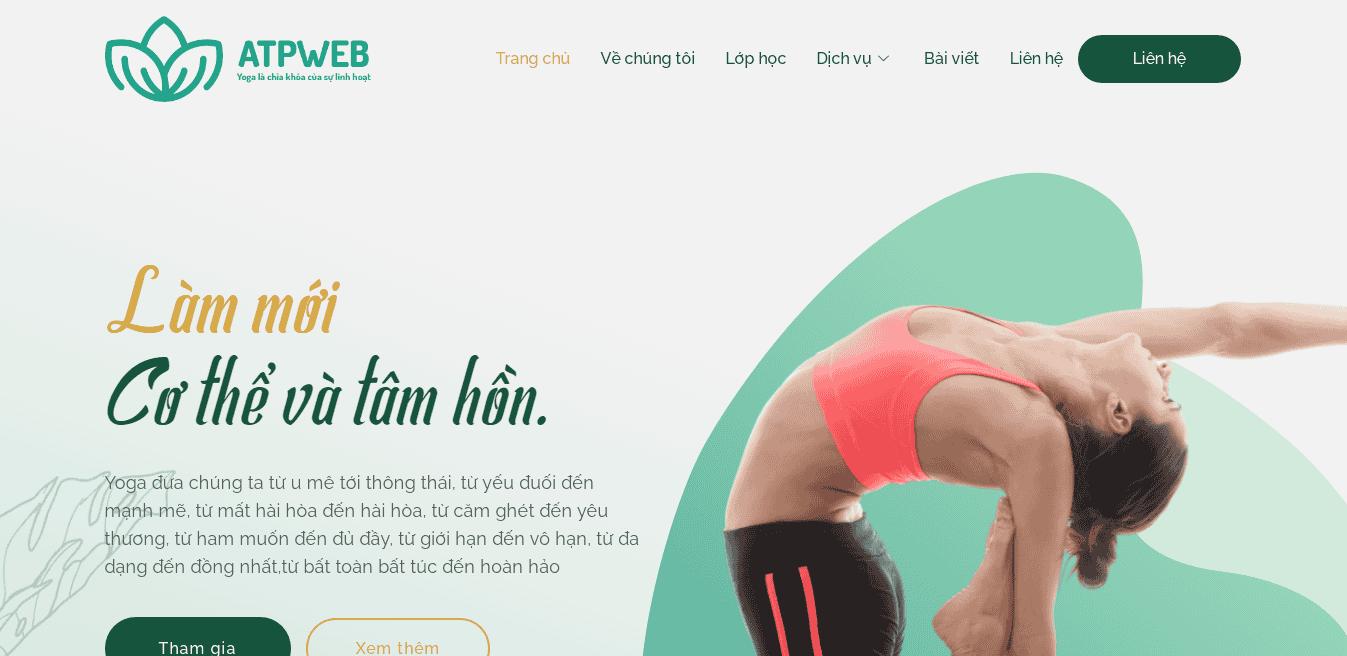 Giao diện Website Yoga