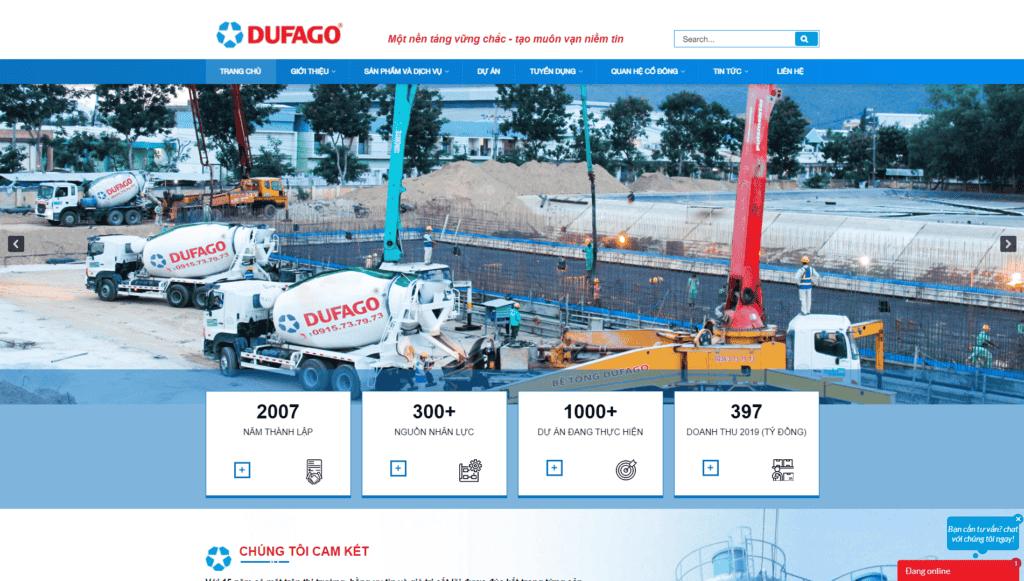 Mẫu giao diện Website Vật liệu xây dựng Dufago