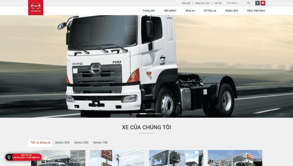 Mẫu giao diện Website bán Xe tải HINO