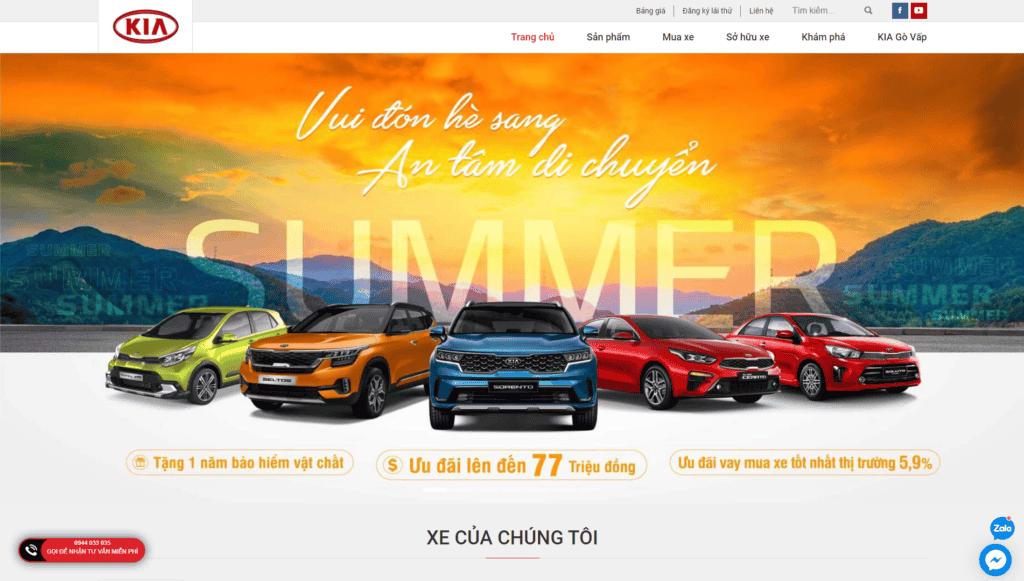 Mẫu giao diện Website Xe hơi KIA Gò Vấp
