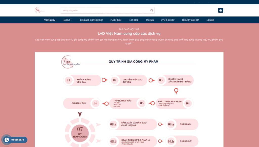 Mẫu giao diện Website Mỹ phẩm Lad