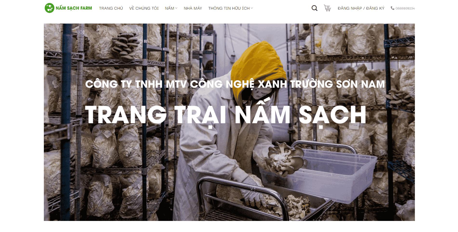 Giao diện Website Nông trại Nấm