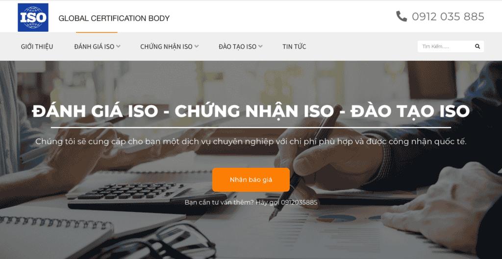 Giao diện website đánh giá chứng nhận ISO