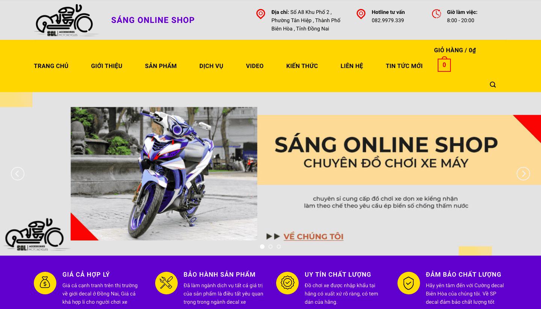 Giao diện website đồ chơi, phụ kiện xe máy giống Sáng Online Shop