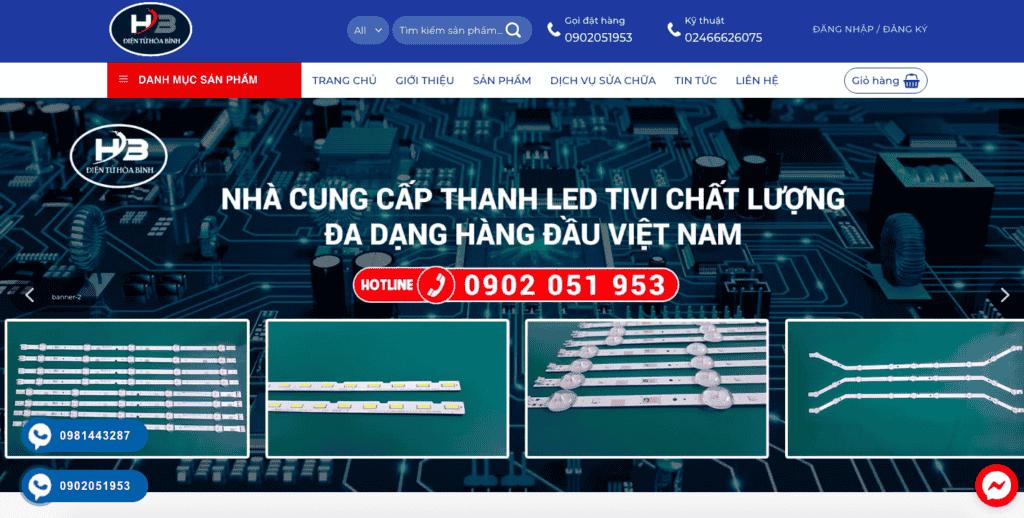 Giao diện website điện tử theo mẫu Hòa Bình