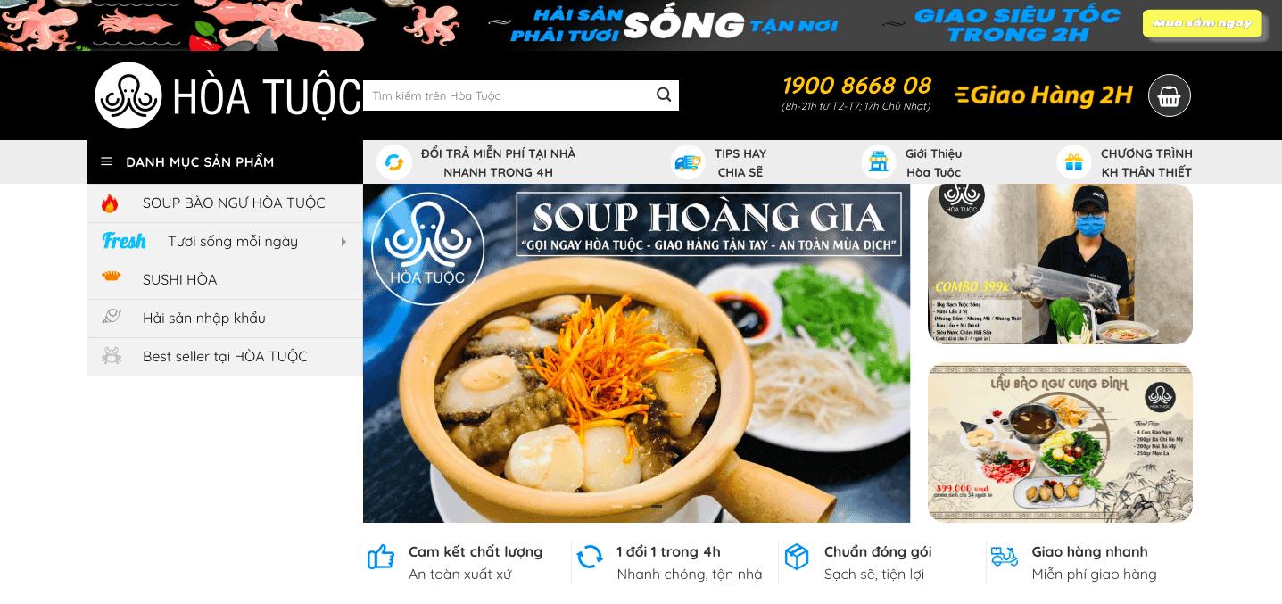 Giao diện website Hải sản theo mẫu Hòa Tuộc