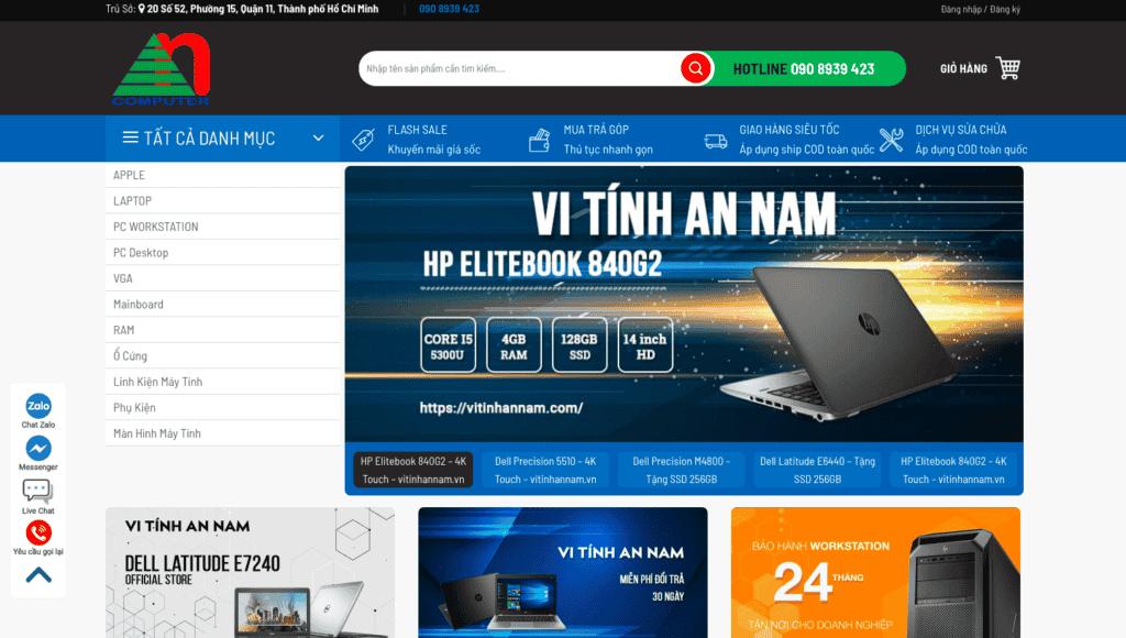 Giao diện website thiết bị công nghệ theo mẫu vi tính An Nam