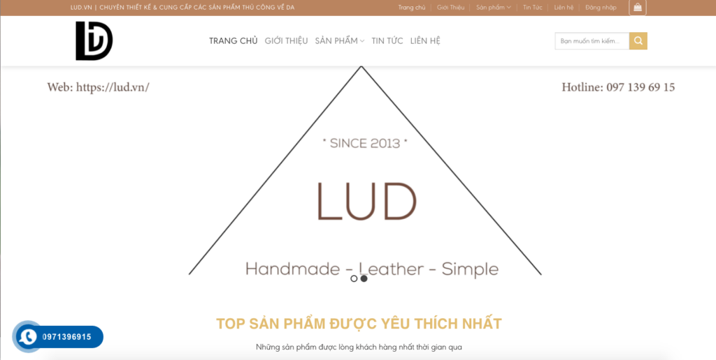Giao diện website cửa hàng đồ da theo mẫu LUD.VN