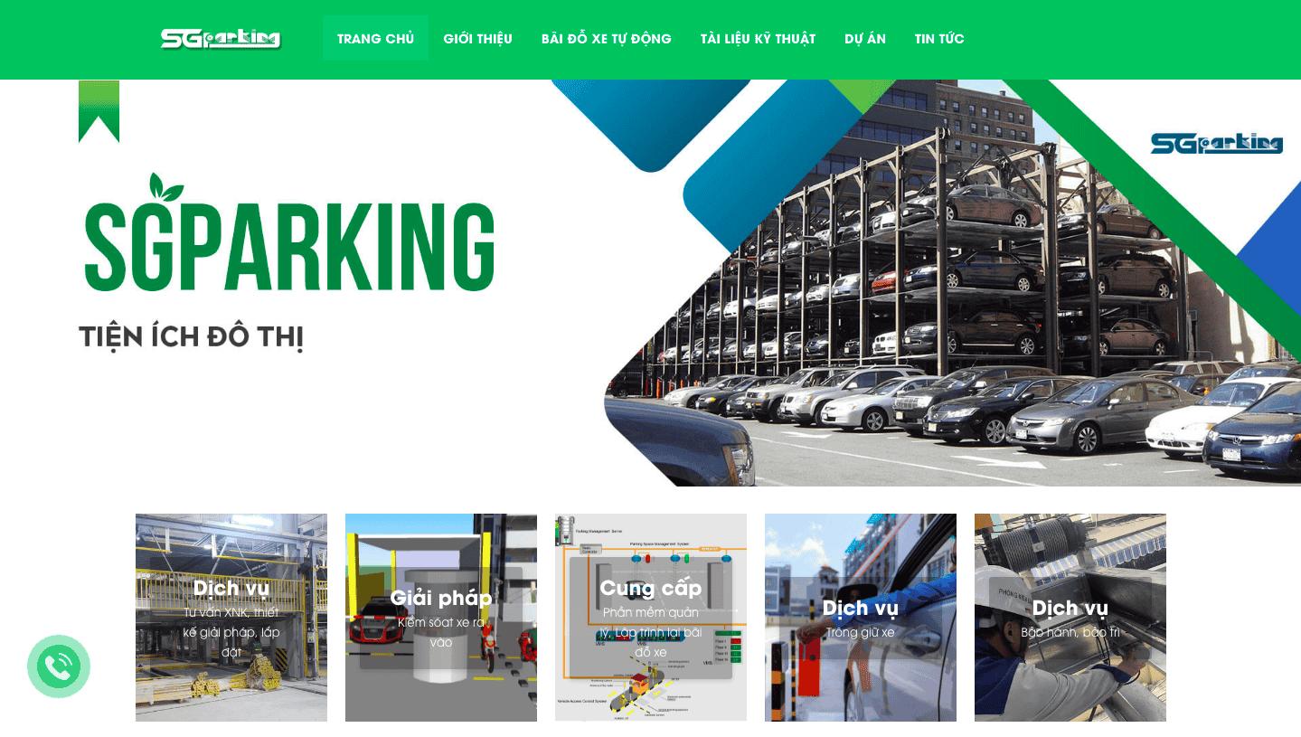 Giao diện website bãi đỗ xe tự động giống Sài Gòn Parking