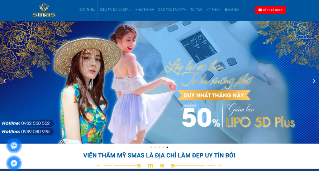 Giao diện website thẩm mỹ viện theo mẫu SMAS
