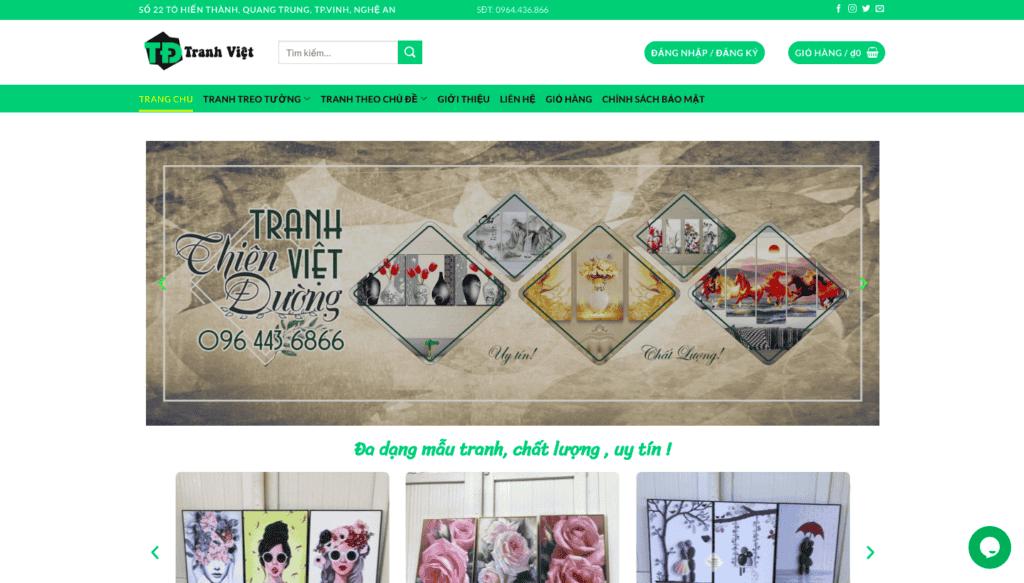 Giao diện website tranh trang trí theo mẫu Thiên Đường Tranh Việt