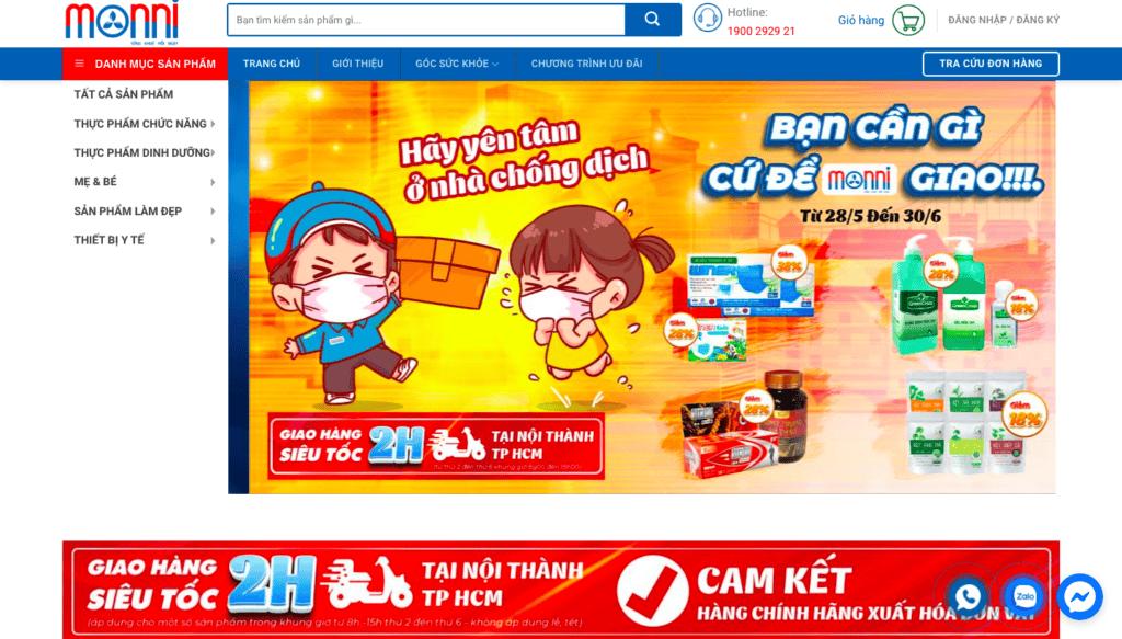 Giao diện website thực phẩm chức năng theo mẫu Monni.vn