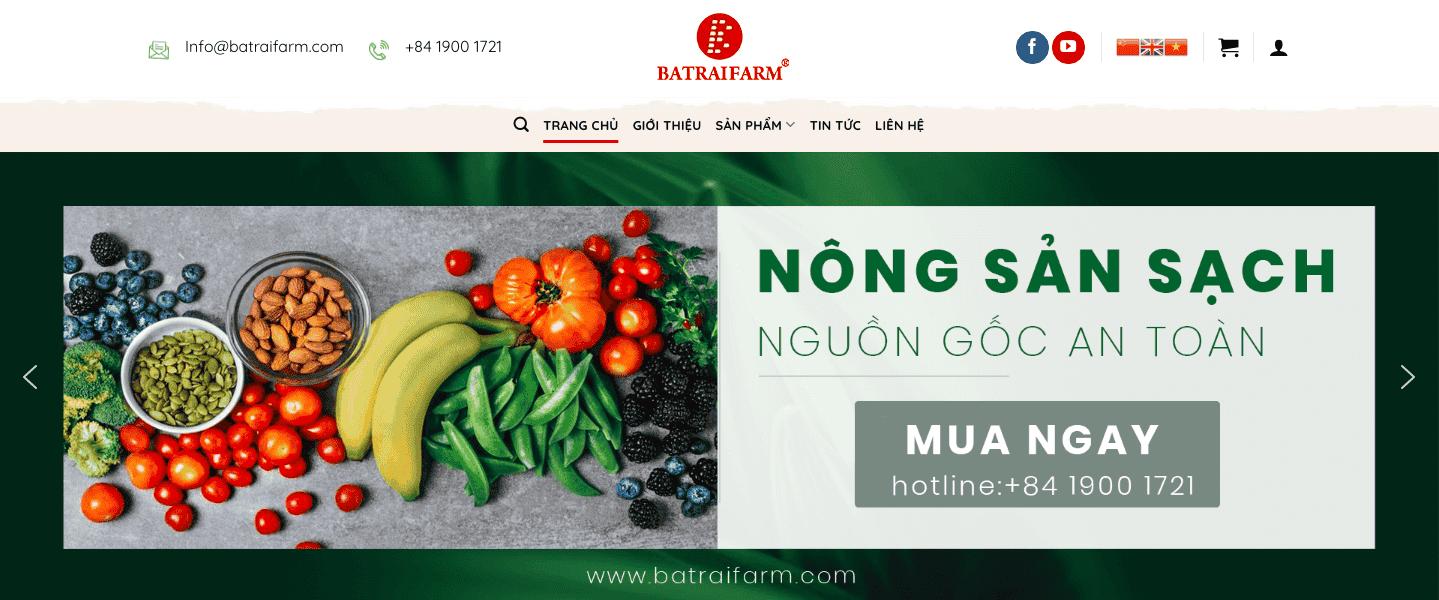 Giao diện website nông sản sạch giống BATRAIFARM