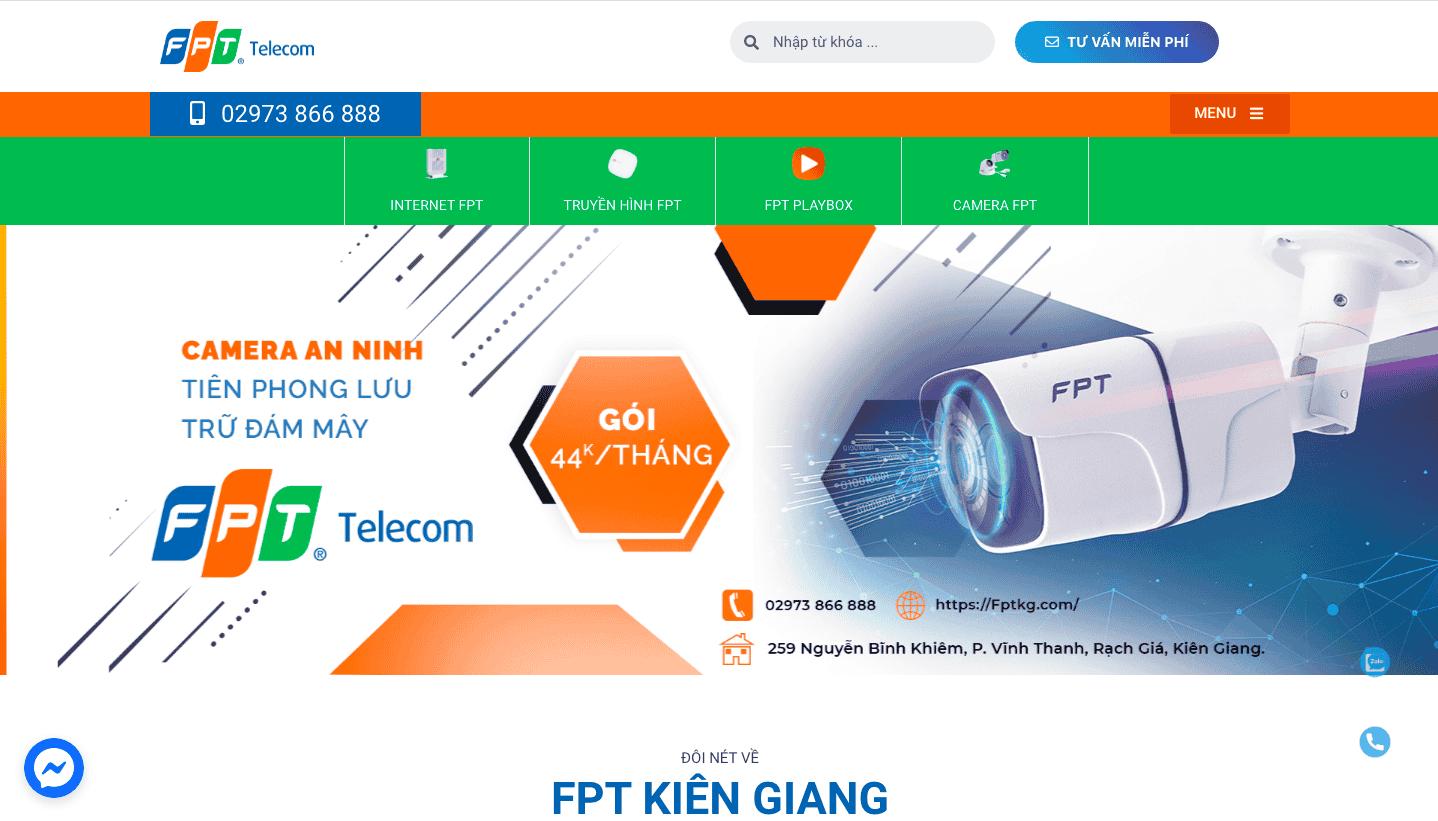 Giao diện website dịch vụ viễn thông theo mẫu FPT KG