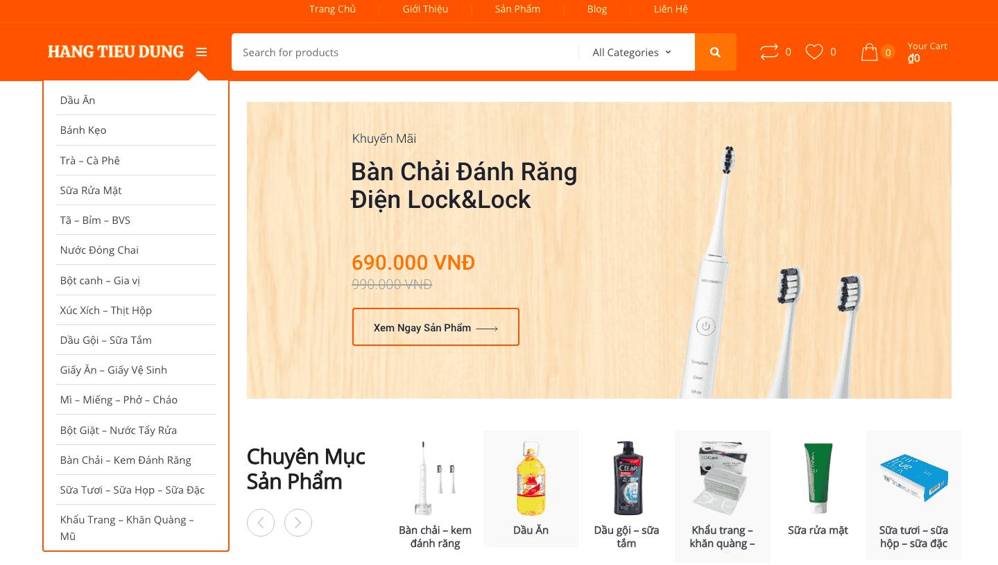 Mẫu giao diện website hàng tiêu dùng 01