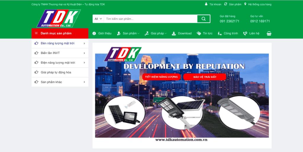 Giao diện website Điện - Tự động hóa theo mẫu TDK Automation