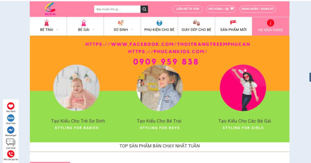 Giao diện website thời trang trẻ em theo mẫu Phúc An Kids
