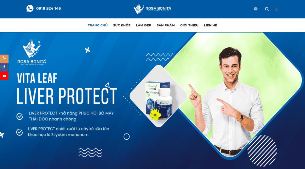 Giao diện website sản phẩm chăm sóc sức khỏe theo mẫu Rosa Bonita