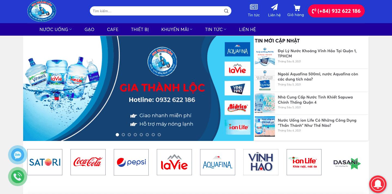 Giao diện website cung cấp nước khoáng theo mẫu Gia Thành Lộc