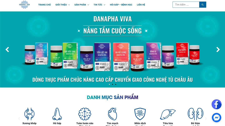 Giao diện website thực phẩm bảo vệ sức khỏe thao mẫu DANAPHA VIVA