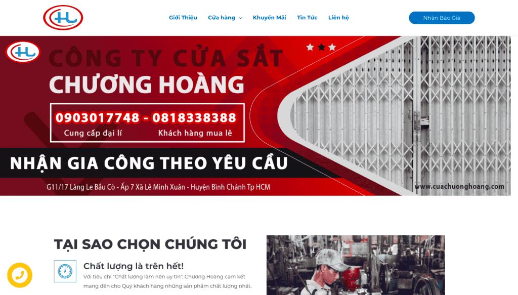 Giao diện website bán hàng theo mẫu Cửa sắt Chương Hòa