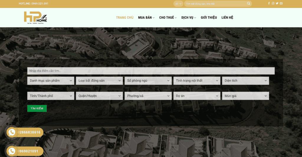 Giao diện website bất động sản theo mẫu HP Home