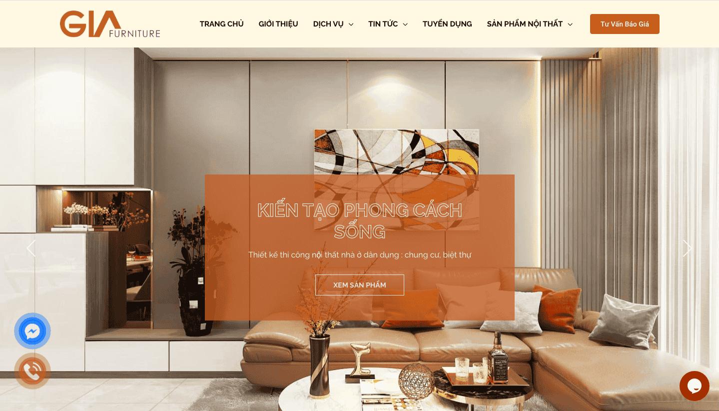 Giao diện website thiết kế nội thất theo mẫu Gia Furniture