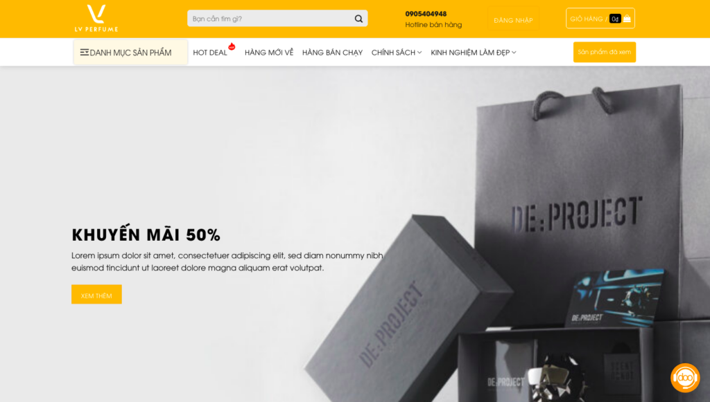 Giao diện website mỹ phẩm & nước hoa giống LV Perfume